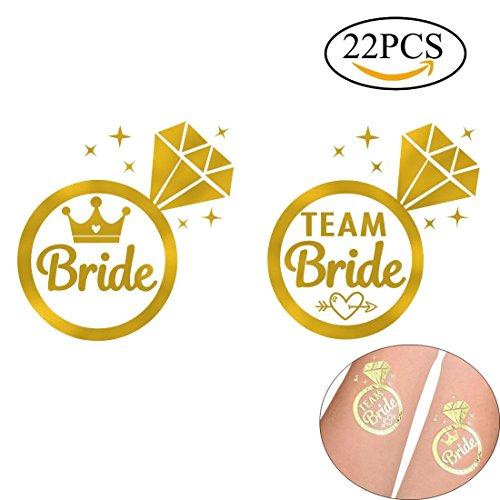 Gudotra 22 packs 2pz tatuaggi temporanei per sposa e 20 pz per team bride per addio al nubilato nozze