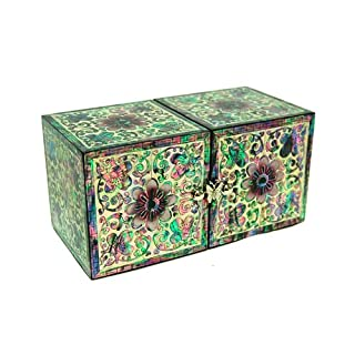 Mother of Pearl Twin Cubic Purple Flower Asian Lacquer Wooden Jewellery Trinket Keepsake Treasure Gift Drawer Box Organizer Storage with Arabesque Design