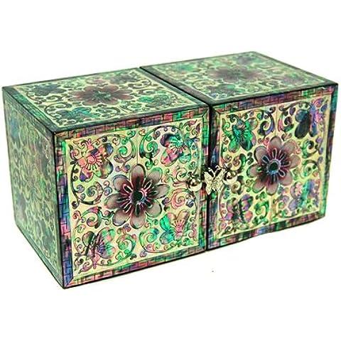 """Madreperla e doppio fiore smaltato, motivo: """"Asian-Portagioie in legno per gioielli, con scatola per ricordi da regalo, motivo: Arabesque, con Organizer portaoggetti"""