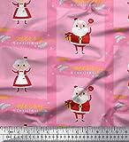 Soimoi Rosa Georgette Viskose Stoff Santa & Gift
