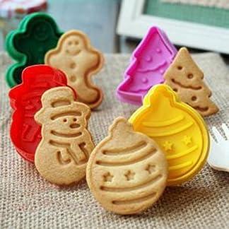 Itian 4 Piezas de Navidad Cortadores de Galleta de Galleta para Hornear la Pasta de Azúcar de Galleta Juego de Cortadores con Expulsor