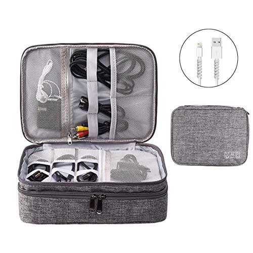 OrgaWise Accessories Bag Travel Electronics Organizer Custodia per Cavi a 3 Strati per Fotocamera, iPad e Scheda di Memoria - Custodia Elettronica Grigia con Set di 2 Linee Dati Protect Set
