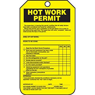 Accuform Signs TCS361CTP Hot Work Status Tag, Legend