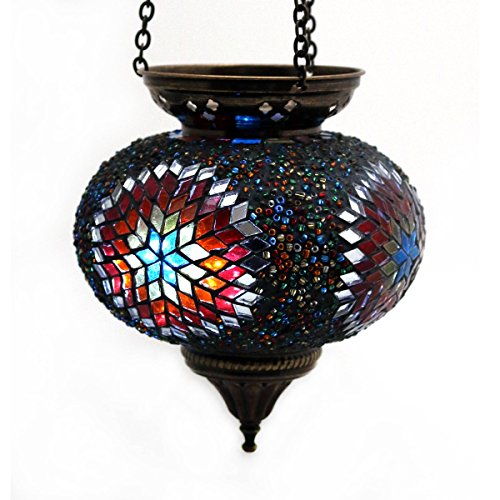 mosaico de viento–Lámpara de techo Luz techo Lámpara de exterior lámpara de techo de cristal multicolor portavelas con motivos orientales mano decoración–Gall & Zick