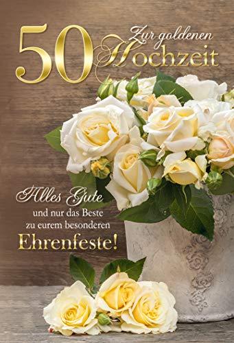 Karte zur Goldenen Hochzeit | Goldhochzeit Karte | Hochzeitstag 50 Jahre | Karte in Folie | Karte ohne Innentext | DIN A 6 | Klappkarten inkl. Umschlag | Motiv: gelbe Rosen