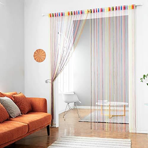 Fadenvorhang mit Verzierungen von Taiyuhomes - Vorhang, Trennwand, Dekoration, Fliegengitter, regenbogenfarben, 90x200cm(35x79