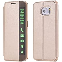 Oro Funda de Cuero para Samsung Galaxy S6 edge G9250 - Yihya Flip Bookstyle Case Carcasa con tapa de Pantalla Inteligente Clear Touch Slim Pouch Cover con Stand Función--Gold