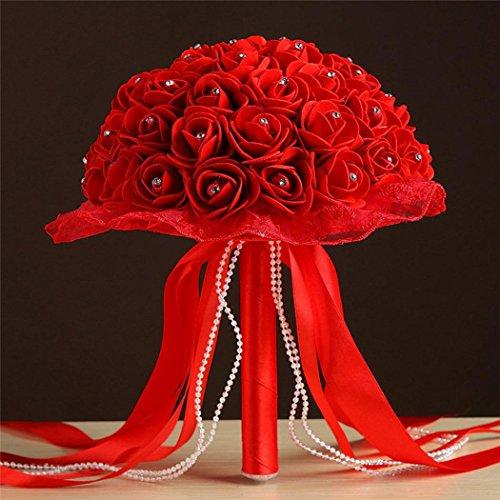 hing Crystal Roses Pearl Brautjungfer Hochzeitsstrauß Braut Künstliche Seidenblumen Ribbon Perlen Spitze Hand mit Blumen Haus Garten Party Blumenschmuck (C) (Office-halloween-deko-ideen)
