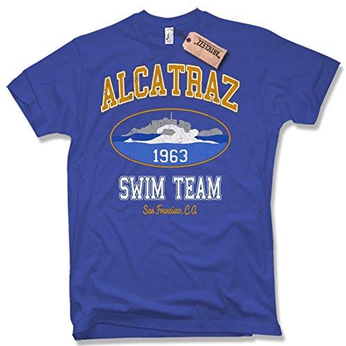 ALCATRAZ SWIM TEAM T-Shirt, Funshirt Vintage, verschiedene Farben, Gr. S - XXL blau / royal blue