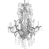 Lampadario in ferro con cristalli, 6bracci da soffitto grigio shabby grigio anticato
