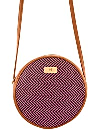 Women's Sling Bag (Pink And Tan) - B072XDKGGF