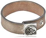 Diesel Bracelet pour homme, cuir véritable, fermeture à bouton, A-MYDENIM BRACELET, Mohawk: Colour: Beige