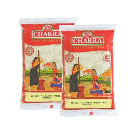 Chakra Premium Rice Flakes White Medium 500g (Pack of 2)