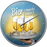 Nostalgic-Art 51049 Bier und Spirituosen schmeckt immer Tablett, Wanduhr, 31 cm