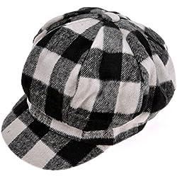 ZLYC estilo Unisex casquillo de la tela escocesa la manera de lavar en programa para lana sombrero celulitis la boina Blanco blanco