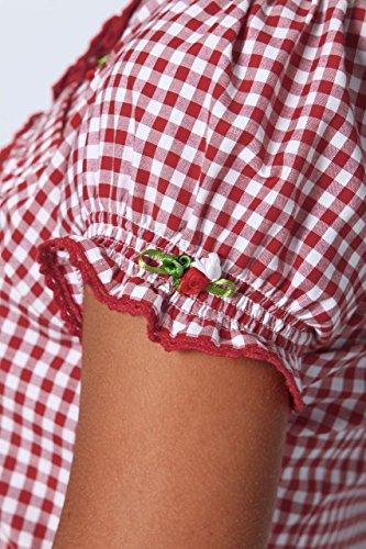 Stockerpoint - Damen Trachten Bluse kurzarm, Minu Rot