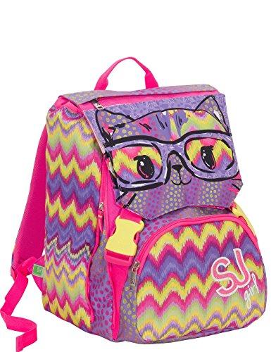 Sj zaino scuola sdoppiabile - girl wild fashion - flip system - 28 lt 3 pattine sfogliabili elementari e medie
