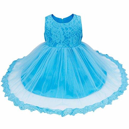 iiniim Baby Mädchen Kleid Festlich Prinzessin Kleid Blumenmädchenkleid Mesh Taufkleid Hochzeit Partykleid Festzug Gr.62-86 Blau Stil 2 80-86/12-18 Monate Prop Satin