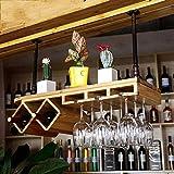LEI ZE JUN UK Retro Weinregal Bar rot Regal Glas europäisch Massivholz Wand Hängerahmen Wein Schränke, Holz, hellgelb, 80 cm