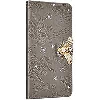 NSSTAR Compatibile con iPhone XS Max Funda de Cuero Diamond Flip Wallet Case,360 Grados Full Body Cover Anverso y reverso PU Wallet Case Carcasa de cuero con abeja en relieve con cordón,gris/