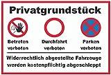 Privatgrundstück warnschild schild aus blech, metal sign, tin sign
