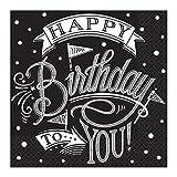 PARTY DISCOUNT® Servietten Black & White Birthday, 33 cm,36 S.