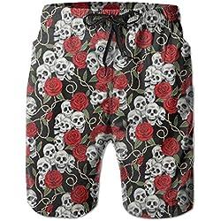 Head skull and rose men's beach surfing board shorts swim trunks
