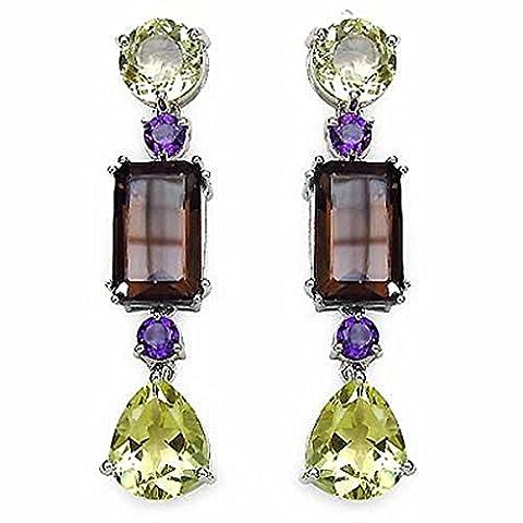 Bijoux Schmidt-Designer Boucles d'oreilles à quartz citron / Améthyste / Smoky Quartz - Argent 925 rhodié 18,76
