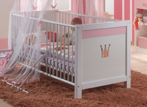 Wimex Babybett 304224 Cinderella, Weiß, Abs. Rosé