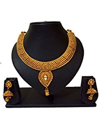 Pourni Traditional Necklace Set With Earring For Bridal Jewellery Antique Finish Necklace Set - PRNK187