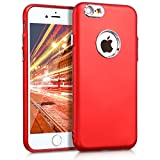 kwmobile Apple iPhone 6 / 6S Cover - Custodia Back Case Silicone TPU Pulsanti in Alluminio per Apple iPhone 6 / 6S - Rosso Scuro Metallizzato