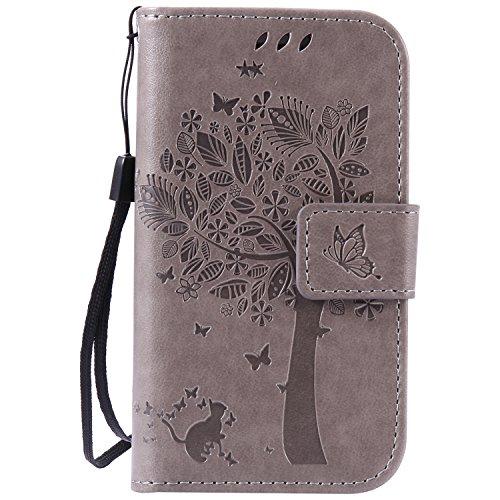 ISAKEN Compatibile con Samsung Galaxy S3 Mini Custodia, Libro Flip Cover Portafoglio Wallet Case Albero Design in Pelle PU Protezione Caso con Supporto di Stand/Carte Slot/Chiusura - Grigio