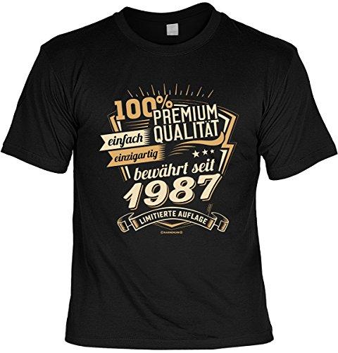 Geburtstags/Spaß/Fun-Shirt-Set inkl. Mini-Shirt/Flaschendeko: 100% Premium Qualität einfach einzigartig bewährt seit 1987 limitierte Auflage Schwarz
