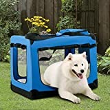 P PURLOVE Blue Portable Folding Lightweight Fabric Pet Dog Carrier Crate with Fleece Mat and Food Bag, Large Size: L 70 x 52 x 52 Centimeter