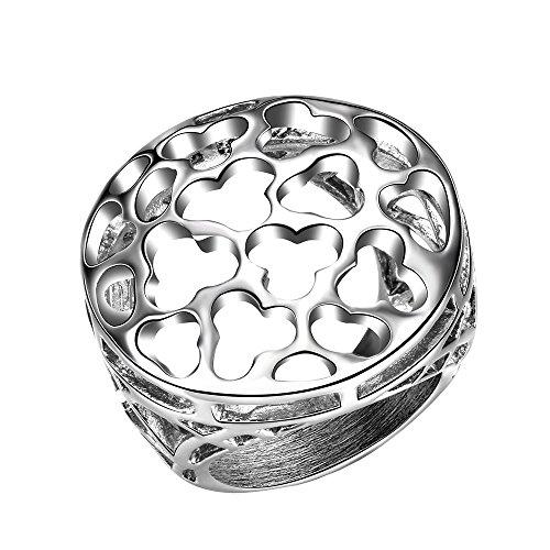 PAURO Unisex'S Edelstahl Runde Top Signet Stil Aushöhlen Ring Größe (Kostüm Weiblich Rost)