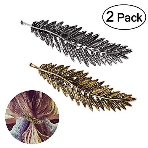 Tinksky 2 pcs plumes/en forme de feuille Pince à cheveux broches Pince à cheveux Accessoires (Or + Argent)