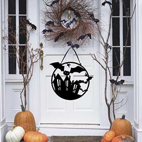 Halloween Hängen Dekor Spukhaus Fledermaus Hängen Zeichen Dekor für Haus Bar Hausgarten Party Innen Urlaub Skull Mantel