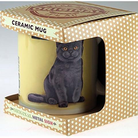 Blu Grigio Gatto Character Quote Tazza in ceramica in confezione regalo