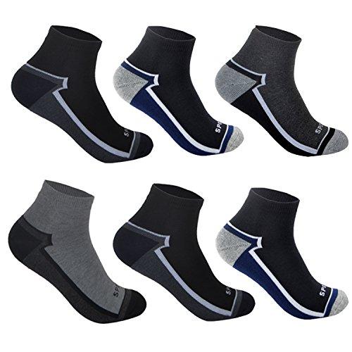L&K 6 Paar Herren Thermo Sneaker Socken Baumwolle Sportsocken Dicke Gepolsterte-Sohle 3-Farben-Set 2104a 43-46