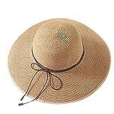 Beudylihy Cappello di Paglia Casuale Bowknot Cappello Estivo di Paglia da Donna Estivo in Spiaggia Cappello UPF da Viaggio UV Casual Cappello
