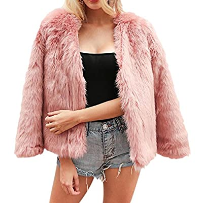 Allouli Women's Autumn Winter Long Sleeve Warm Fluffy Faux Fur Coat Jacket Cardigan