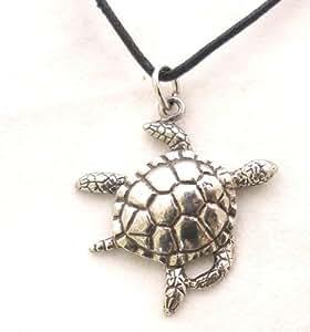 Hoardersworld Giant Turtle Pendant In Fine English Pewter, Handmade