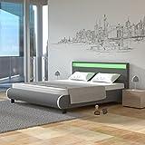 Homelux LED Bett PU Polsterbett Kunstlederbett Doppelbett Bettgestell Bettrahmen 140 x 200 cm GRAU