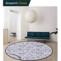 RUGSMAT Mathematics Classroom Art Deco Pattern Non-Slip Washable Round Area Rug,Zoo Animals Study Computer Chair Cushion Base Mat Round Carpet