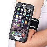 MoKo Sports Armband per iPhone 6 Plus / iPhone 6s Plus 5.5 Inch - Bracciale in silicone con Slot portachiavi, Leggero e Flessibile, NERO (Compatibile con cellulari 5.7 Inch)
