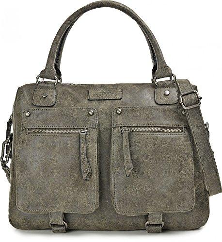 MIYA BLOOM, Damen Handtaschen, Shopper, Henkeltaschen, Umhängetaschen, Aktentaschen, 40 x 30 x 13 cm (B x H x T), Farbe:Anthrazit (Handtasche Aktentasche)