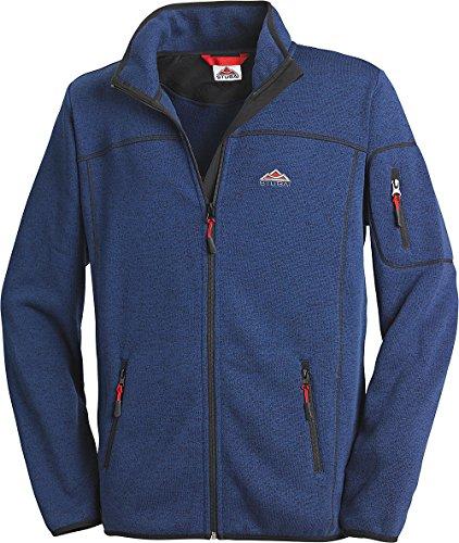 Stubai - Strick Fleecejacke Herren/Strickjacke mit Fleece Innenseite für Outdooraktivität, Strick Fleece Jacke mit Stehkragen und Reißverschluss (Farbe: Blau, Größe: M - 3XL)