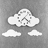 BABEES Kinder Wanduhr Wolken, Uhr ohne Tickgeräusche, Kinderuhr für Kinderzimmer, Lautlos Uhrwerk, Wanddeko Skandi Deko Weiß