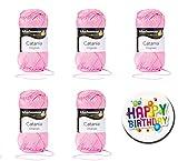 5er Set CATANIA 0222 ORCHIDEE SCHACHENMAYR Qualität Wählen Sie Ihre Traumfarben aus der Farbkarte 1 (Rot & Gelbtöne) 5 x 50g Knäuel, Lauflänge ca. 125m / 50g Knäuel, Nadelstärken 2,5 bis 3,5mm + Button Happy Birthday