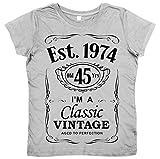 DF, 45th Birthday, Vintage Year, Est. 1974, Femme T-Shirt, Gris, 16-18 XL
